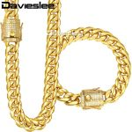 Davieslee Womens Mens Jewelry Set Miami Curb 316L Stainless Steel Iced Out Cubic Zirconia CZ Gold <b>Silver</b> 12/14mm LHSM03