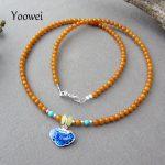 Yoowei Baltic Natural Amber Necklace for Women 3mm Beads Lock Enamel Design Genuine Round Original Amber <b>Jewelry</b> Gift Wholesale