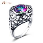 Korean 925 Sterling Silver Love Rose Ring Cushion Mystic Rainbow Topaz Crystal Cocktail Rings Retro <b>Handmade</b> Women Party <b>Jewelry</b>