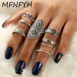 MFNFYH 8pcs/Set Vintage Punk Ring Set <b>Antique</b> Silver Color Geometric Carving Flower Finger Rings for Women Boho Beach <b>Jewelry</b>