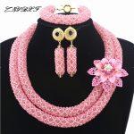 Peach Pink Nigerian Beads Set Pretty Costume African <b>Jewelry</b> Set New <b>Handmade</b> Necklace Set Wholesale Free Shipping HD7816