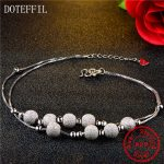 Hot 925 Sterling <b>Silver</b> Women Anklets Scrub Process Six Round Bead Chains Real Sterling <b>Silver</b> Girl Anklets Fashion <b>Jewelry</b>