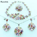 Created Multi Gems <b>Silver</b> Color Jewelry Sets For Women Wedding Bridal <b>Bracelet</b>/Necklace/Earrings/Ring/Pendant
