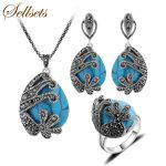 Sellsets <b>Fashion</b> Antique Silver Color Turkish Jewellery Set Vintage Black Crystal And Natural Stone <b>Jewelry</b> Sets For Women Gift