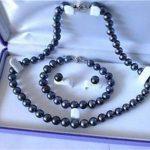 Women's Wedding AAA 7-8mm Black Akoya Cultured Pearl Necklace Bracelet Earring Set real silver-<b>jewelry</b> silver-<b>jewelry</b>
