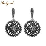 Feelgood Fashion <b>Jewelry</b> <b>Antique</b> Silver Color Vintage Earring Big Hollow Out Round Flower Black Crystal Earrings For Women Gift