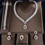 RAKOL Exclusive Dubai White Color <b>Jewelry</b> Luxury Cubic Zirconia Necklace Earring Bracelet Party Wedding <b>Jewelry</b> Set For Women