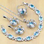 Hyperbole Blue Zircon Stone White CZ 925 Sterling <b>Silver</b> Jewelry Sets For Women Party Earrings/Pendant/Necklace/Rings/<b>Bracelet</b>