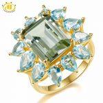 Hutang 9.35ct Natural Gemstone Green Amethyst Blue Topaz Ring Solid 925 <b>Sterling</b> <b>Silver</b> Yellow Gold Fine <b>Jewelry</b> For Women