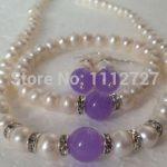 7-8mm White Akoya Cultured Pearl / Alexandrite <b>Bracelets</b> Necklace Earrings Jewelry Set Beads Natural Stone