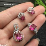 KJJEAXCMY Fine jewelry, 925 Sterling <b>Silver</b> with pink topaz ring pendant necklace <b>earrings</b> <b>earrings</b> female suit