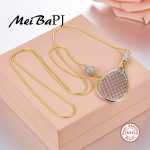 [MeiBaPJ]Pure S925 <b>Sterling</b> <b>Silver</b> Tennis Rackets and Balls Pendant with AAA Zircon Pendant Necklace for Women Fine <b>Jewelry</b>