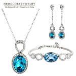 Neoglory Blue Crystal Rhinestone <b>Jewelry</b> Set <b>Necklace</b> Earrings Bangle Stylish Gifts 2015 New Engagement Romantic Fashion Brand