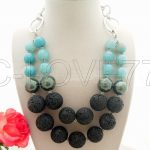 Excellent Shell Pearl&BLACK VOLCANO LAVA&Onyx <b>Necklace</b> free +shipment