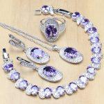 925 <b>Silver</b> Bridal Jewelry Sets Purple Zircon White CZ Beads Decoration For Women Drop Earrings/Pendant/Necklace/Ring/<b>Bracelet</b>