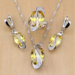 Natural Light Yellow Cubic Zirconia 925 Sterling Silver <b>Jewelry</b> Sets For Women Wedding Earrings/Pendant/Necklace/Rings
