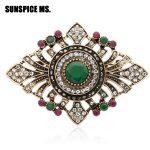 Luxurious Turkish Women Flower Resin <b>Antique</b> Brooch Vintage Rhinestone Corsage <b>Jewelry</b> Indian Bohemia Lapel Pins Enamel Pin Gift