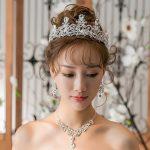 New Rhinestone Wedding <b>Jewelry</b> Sets <b>Handmade</b> Necklace Earrings Set Fashion Wedding Jewellery for Brides with Tiara Crown Bijoux