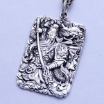 Mantra Guan Gong Pendant For Men Chinese Martial God Of Wealth Carved Six Words Mantra 999 <b>Sterling</b> <b>Silver</b> <b>Jewelry</b> Lucky Amulets