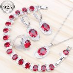Women Costume Bridal <b>Jewelry</b> Sets Red Cubic Zirconia Silver 925 <b>Jewelry</b> With Stone Earrings Bracelets Rings Pendant Necklace Set