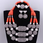 African Wedding Beads Set <b>Silver</b> Red Nature Coral Beads Jewelry Sets For Brides Nigerian Necklaces Set for Women Free Shipping