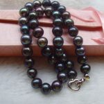 GENUINE 10-11mm natural tahitian south sea black green pearl necklace <b>earring</b> gift