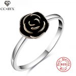 Black Flower Rose Rings for Women Real 925 Sterling-silver <b>jewelry</b> White Gold Color Fashion <b>Jewelry</b> Party <b>Accessories</b> Bijoux