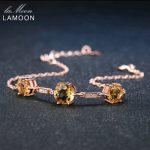 LAMOON Luxury Citrine 925 Sterling <b>Silver</b> <b>Bracelet</b> Rose S925 Charm <b>Bracelet</b> Women Fashion Fine Jewelry