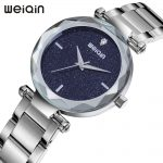 Weiqin Brand Thin Watch Women <b>Silver</b> Luxury Stainless Steel <b>Bracelet</b> Quartz Wristwatch Ladies Watch montre femme 2018 Fashion