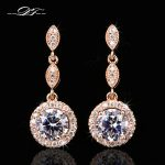 Micro Pave Cubic Zirconia Vintage Party Stud Earrings Rose Gold/Silver Color Wedding <b>Jewelry</b> For Women Gift DFE591M