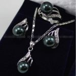 real Women's Wedding shipping>>Classic Black South sea Shell Pearl Earrings + Ring + Necklace Pendant Set silver-<b>jewelry</b>