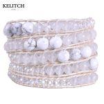 KELITCH <b>Jewelry</b> 8mm Irregular Stone Crystal Mixed 5 Wrap Leather Chain <b>Handmade</b> Femme Bijiux Women Bracelet Drop Shipping