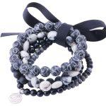 MetJakt Natural Gemstone with Black Jade,agate,jasper,Handmade Elastic <b>Bracelet</b> with Double Happiness and Long Life Charm