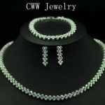 CWWZircons High Quality AAA+ Cubic Zirconia <b>Necklace</b> Bracelet Earrings <b>Jewelry</b> Set For Ladies Party Costume Jewellery T028