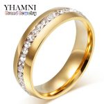 YHAMNI Fine <b>Jewelry</b> Never Fade Pure Gold Color 316l Stainless Steel Ring Titanium Steel CZ Diamant Engagement <b>Wedding</b> Ring R05S