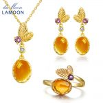 LAMOON Fine Jewelry Set 100% Natural Citrine S925 Sterling <b>Silver</b> Party Accessories Bijoux Necklace <b>Earring</b> Ring Sets V022-1
