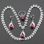 2017 Hot Selling Red imitation Pearl Christmas Gift Jewelry Set For Women <b>Silver</b> Color Pendants Necklace <b>Earring</b> Ring js31