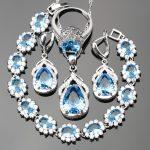 Wedding <b>Silver</b> 925 Sky Blue Cubic Zirconia White CZ Jewelry Sets For Women <b>Bracelets</b>/Earrings/Pendant/Necklace/Rings Free Box