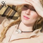SA SILVERAGE 925 <b>Sterling</b> <b>Silver</b> Choker Flower Necklaces & Pendants for Women Leather Rope Fine <b>Jewelry</b> Party Accessories 2018