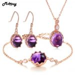 MoBuy Amethyst Natural Gemstone 4pcs Jewelry Sets 100% 925 Sterling <b>Silver</b> Vintage Fine Jewelry For Women Party V031EHN
