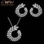 CWWZircons <b>Fashion</b> Women Costume <b>Jewelry</b> Sparkly Olive Branch Marquise Cut Cubic Zirconia Pendant Necklace And Earring Sets T087