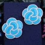 GODKI 40mm Blue Luxury Trendy Rose Flower Cubic Zirconia Naija <b>Wedding</b> Party Earring Fashion <b>Jewelry</b> for Women