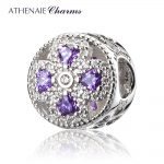 ATHENAIE 925 Sterling <b>Silver</b> Crystals & Clear CZ Crystalized Four-Leaf Clover Charm Fit European Bracelets <b>Necklace</b> Color Purple