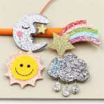 20PCs Glitter Kawaii <b>Handmade</b> Felt Moon Sun Cloud Rainbow Button Patch Sticker Craft Girls Hair <b>Jewelry</b> Meterial Accessories