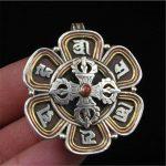 T9132 Tibetan Mantras Cross Dorje Padma Prayer Box Gau Pendant Nepal 925 <b>Sterling</b> <b>Silver</b> <b>Jewelry</b>