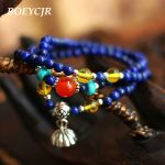 BOEYCJR 4mm Lapis Lazuli Beads Bangles & Bracelets <b>Handmade</b> <b>Jewelry</b> Ethnic Energy Buddha Beads Bracelet for Women Gift 2018