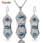 Szjinao Luxury Wedding Jewelry Sets Women Anniversary Pure 925 Sterling <b>Silver</b> Plant Aquamarine Pendant <b>Earring</b> Vintage