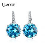 UMODE New Wholesale Luxury Hoop Earrings for Women Dating Earrings <b>Jewelry</b> with Round Blue Color Cubic Zirconia <b>Jewelry</b> AUE0002