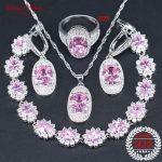 <b>Silver</b> 925 Jewelry Pink Zircon Bridal Jewelry Sets For Women Luxury Earrings Wedding Necklace Rings <b>Bracelets</b> Set Gift Box