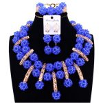 Fashionable <b>Jewelry</b> Set African beads Light Blue Nigeria necklace Women Set Crystal <b>Handmade</b> Balls Bridal Gold Dubai <b>Jewelry</b> Set